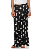 Empyre Black & White Crosses Maxi Skirt