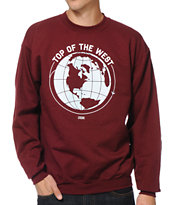 Casual Industrees Top Of The West 2 Maroon Crew Neck Sweatshirt