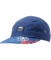 Stussy College Floral Navy Camper 5 Panel Hat