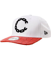 Crooks and Castles Chain Throwback White & Red Croc Snapback