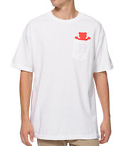 Diamond Supply x Grizzly Grip Tape Pocket Bear White Pocket Tee Shirt