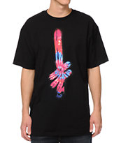 Deathwish Gang Blue Fire Tie Dye Logo Black Tee Shirt