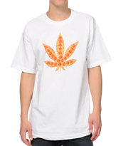 Skate Mental Pizza Leaf White Tee Shirt