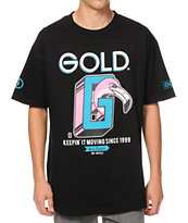 Gold Wheels Keepin It Moving Black Tee Shirt