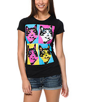 A-Lab Girls Cat Pop Black Tee Shirt