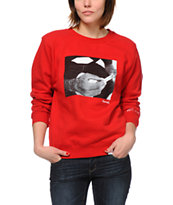 Diamond Supply Girls Rollin Diamonds Red Crew Neck Sweatshirt