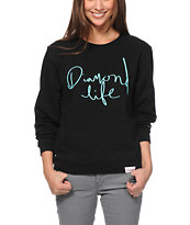 Diamond Supply Girls Handwritten Black Crew Neck Sweatshirt