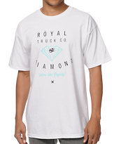 Royal Trucks X Diamond Supply White & Mint Tee Shirt