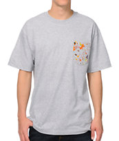 Girl Confetti Heather Grey Pocket Tee Shirt