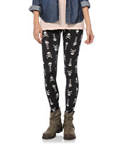 See You Monday Skull Bones Black Leggings