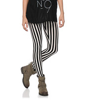 See You Monday Black & White Stripe Leggings