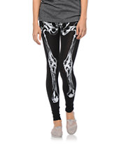See You Monday Bone Print Black Leggings