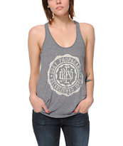Obey College Crest Heather Grey Mock Twist Racerback Tank Top