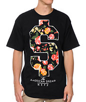 Neff Flash Doller Black & Floral Print Tee Shirt