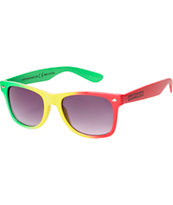 Happy Hour Tri Dye Rasta Sunglasses