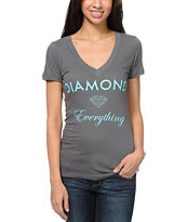 Diamond Supply Girls Diamond Everything Charcoal V-Neck Tee Shirt