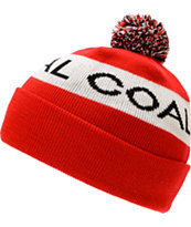 Coal Team Red Pom Beanie