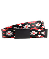 Buckle Down Tribal Print Red & Black Web Belt