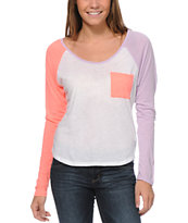 Volcom Girls Pocket Block Coral & Purple Raglan Top