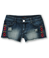 Love, Fire Ella Embroidered Medium Wash Cut Off Shorts