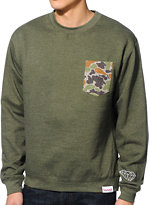 Diamond Supply Co Rainfrog Green Crew Neck Pocket Sweatshirt