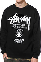 Stussy World Tour Black Crew Neck Sweatshirt