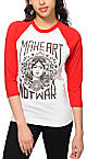 Obey Make Art Not War Red & White Baseball Tee