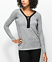 Almost Famous Britt Contrast Lace Up Grey Top