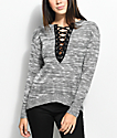 Almost Famous Eddie Lace Up Black & Grey Sweater