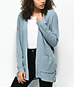 Almost Famous Effie Side Lace Blue Cardigan