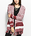 Almost Famous Kenzie Burgundy & White Hooded Fringe Cardigan