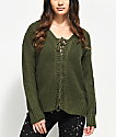 Almost Famous Mandy Lace Up Olive Sweater