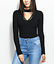 Almost Famous Nollie Lace Mock Neck Black Sweater