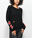 Almost Famous Sally Destroyed Black & Rose Sweater
