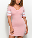 Almost Famous Varsity Light Pink T-Shirt Dress