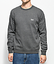 Brixton Potrero Charcoal Fleece Crew Neck Sweatshirt