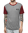 Brixton Springfield Burgundy and Grey Henley T-Shirt