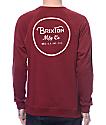 Brixton Wheeler Burgundy Crew Neck Sweatshirt