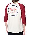 Brixton Wheeler Burgundy and White Baseball T-Shirt