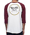 Brixton Wheeler Off White & Burgundy Baseball T-Shirt