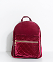 Burgundy Velvet Mini Backpack