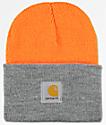 Carhartt Watch Bright Orange & Heather Grey Cuff Beanie