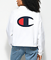 Champion Crop White Coaches Jacket
