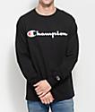 Champion Patriotic Script Black Long Sleeve T-Shirt