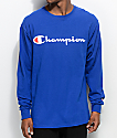 Champion Patriotic Script Surf The Web Blue Long Sleeve T-Shirt