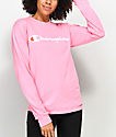 Champion Script Neon Pink Long Sleeve T-Shirt