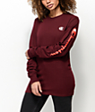 Champion Script Sleeve Burgundy Long Sleeve T-Shirt