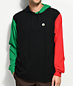 Cross Colours Color Block Black, Red & Green Hooded Long Sleeve T-Shirt