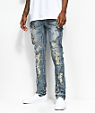Crysp Denim Khal Splatter Light Wash Ripped Jeans