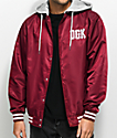 DGK Double Play Burgundy Hooded Bomber Jacket